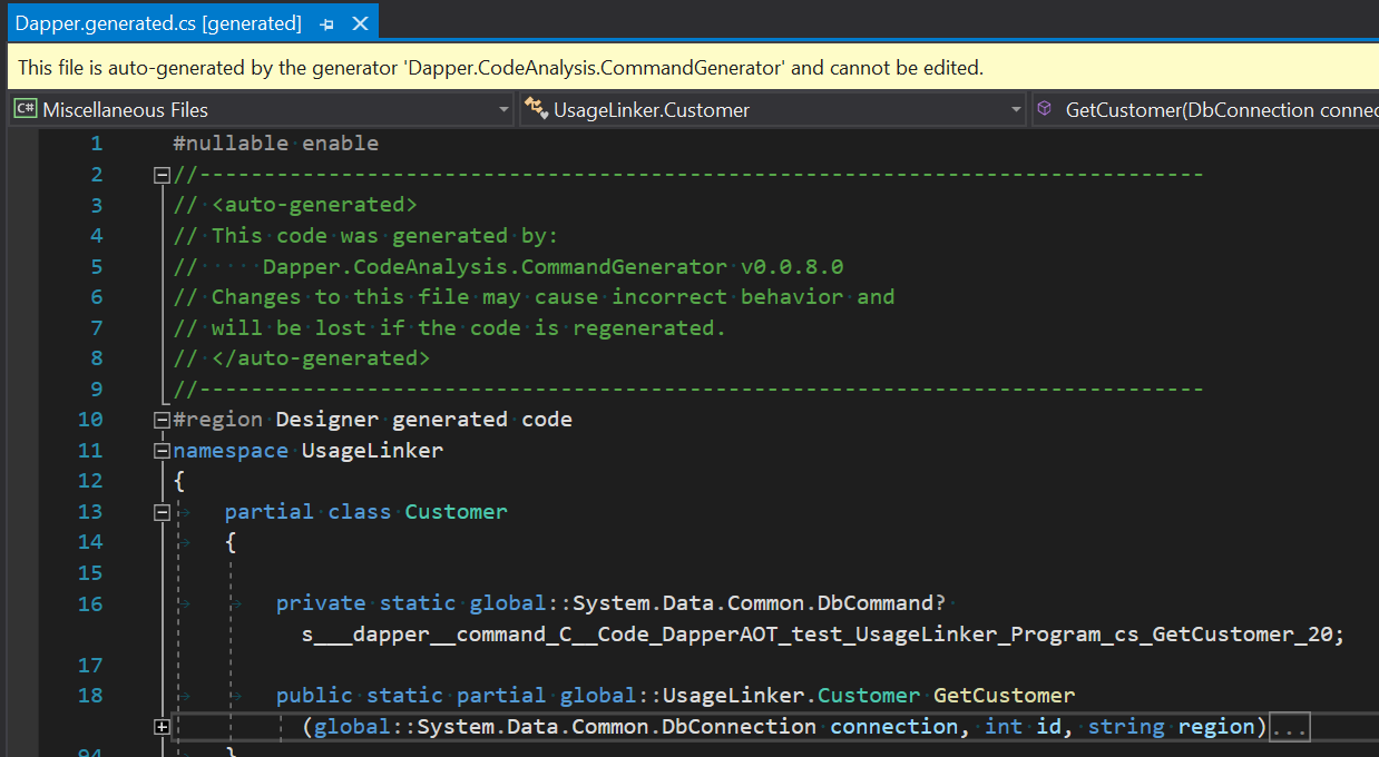 The generated code file Dapper.generated.cs, declaring the GetCustomer method